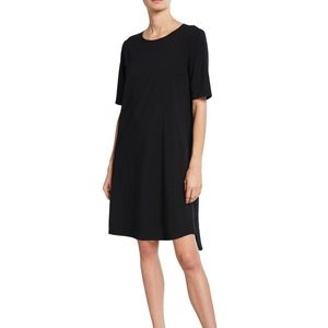 Eileen Fisher black jersey elbow sleeve dress